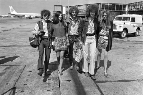 In this Aug. 20, 1967 file photo, members of the rock group Cream depart from Heathrow Airport ...