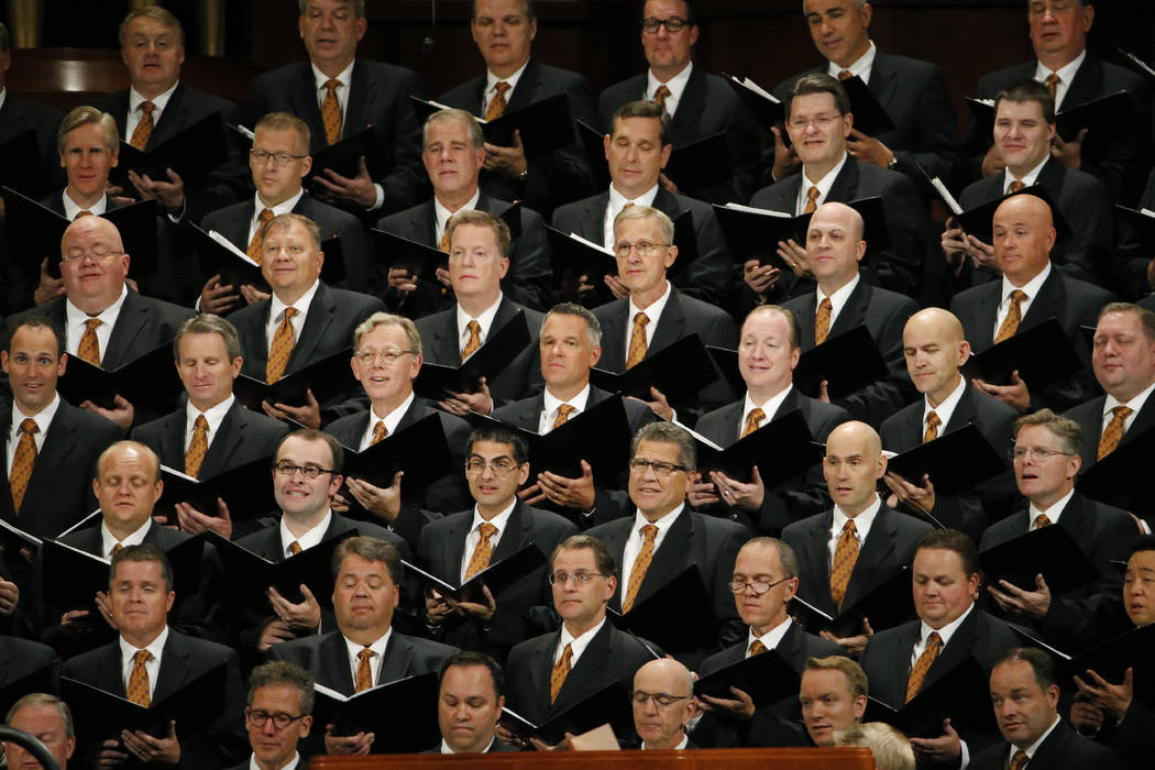 The Tabernacle Choir at Temple Square perform during The Church of Jesus Christ of Latter-day S ...