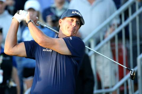 Phil Mickelson hits on the 10th tee during Shriners Hospitals for Children Open at TPC Summerli ...