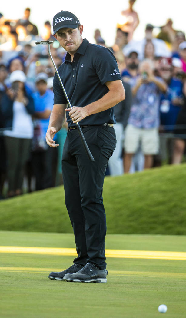 Patrick Cantlay looks down at a missed putt on the green at hole 18 during the final round of S ...
