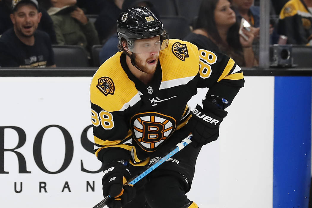 Boston Bruins' David Pastrnak during the third period of an NHL preseason hockey game against t ...