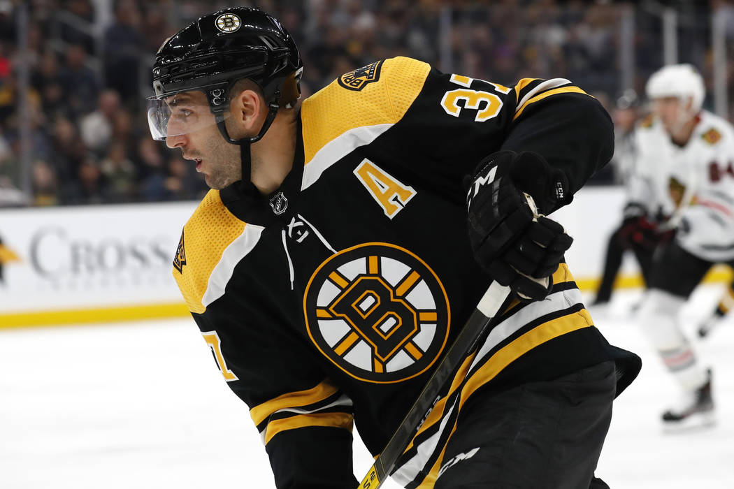 Boston Bruins' Patrice Bergeron during the third period of an NHL preseason hockey game against ...