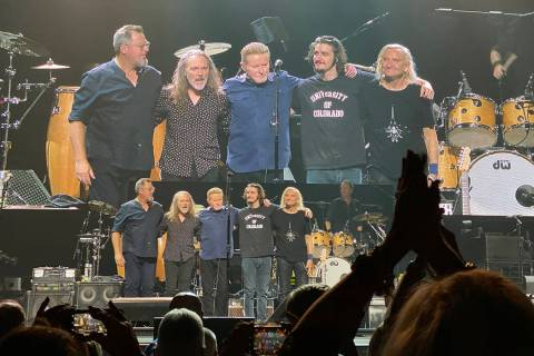 "The latest lineup of the Eagles celebrate their ""Hotel California"" concert at MGM Grand Garden ..."