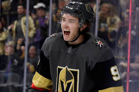 Vegas Golden Knights center Cody Glass reacts after scoring against the San Jose Sharks during ...