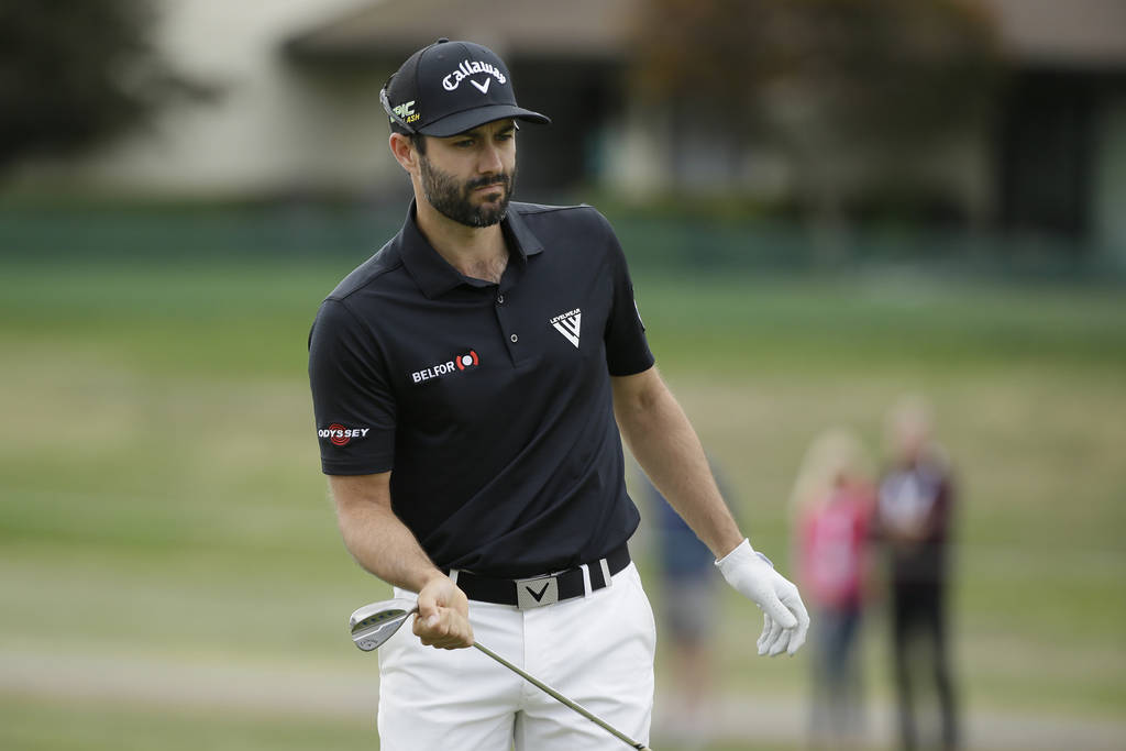 Adam Hadwin, of Canada, follows his hit onto the first green of the Silverado Resort North Cour ...