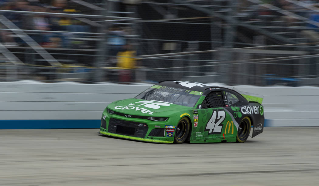 Kyle Larson drives on the way to winning the NASCAR Cup Series playoff auto race Sunday, Oct. 6 ...