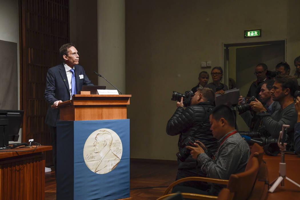 Thomas Perlmann, Secretary-General of the Nobel Committee, announces the 2019 Nobel laureates i ...