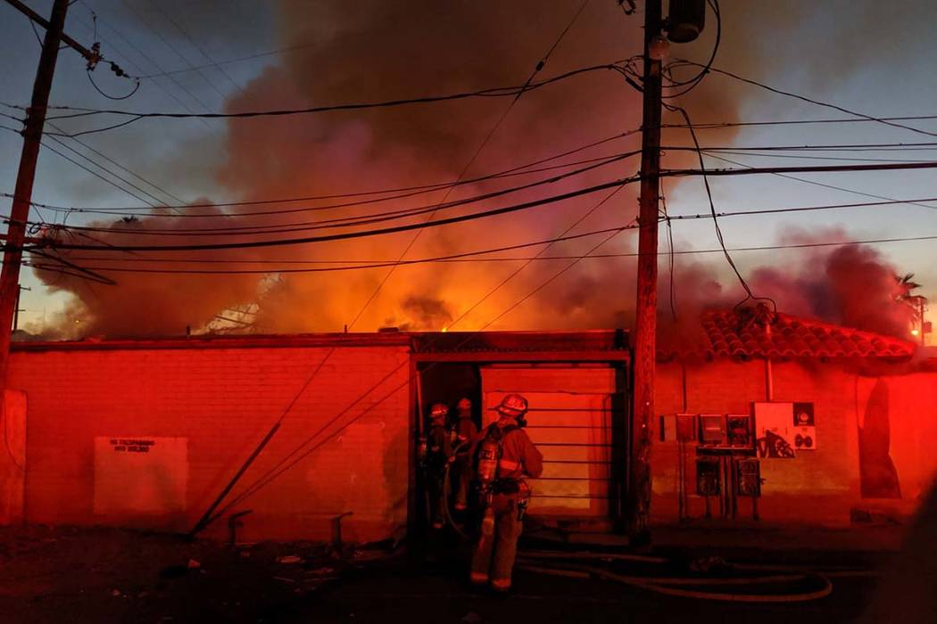 One person was injured in a building fire at East Sahara Avenue and South Sixth Street, Monday, ...
