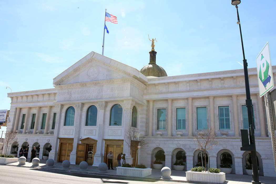 The Nevada Supreme Court building in downtown Las Vegas on March 24, 2017. (Bizuayehu Tesfaye/L ...