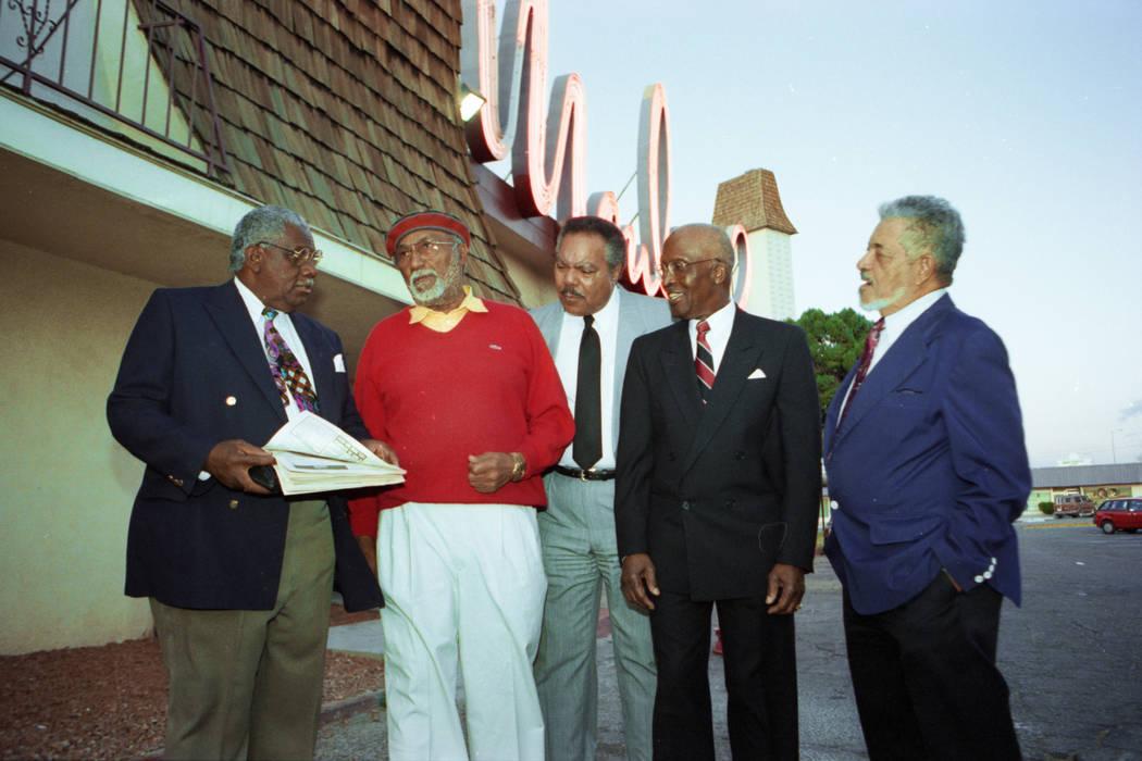 Rev. Donald Clark, left, Dr. James McMillan, Bob Bailey, Woodrow Wilson and David Hogard gather ...