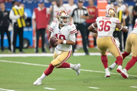San Francisco 49ers quarterback Jimmy Garoppolo (10) in the first half of an NFL preseason foot ...