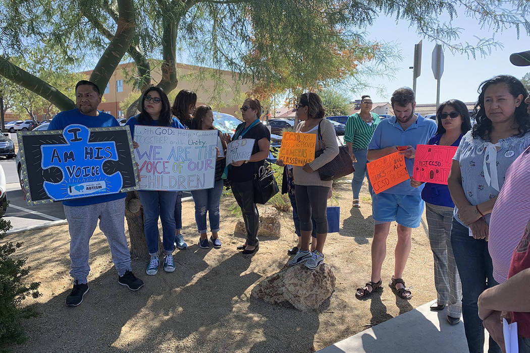 Parents of special education students hold a rally on Monday, OCt. 7, 2019. (Amelia Pak-Harvey ...
