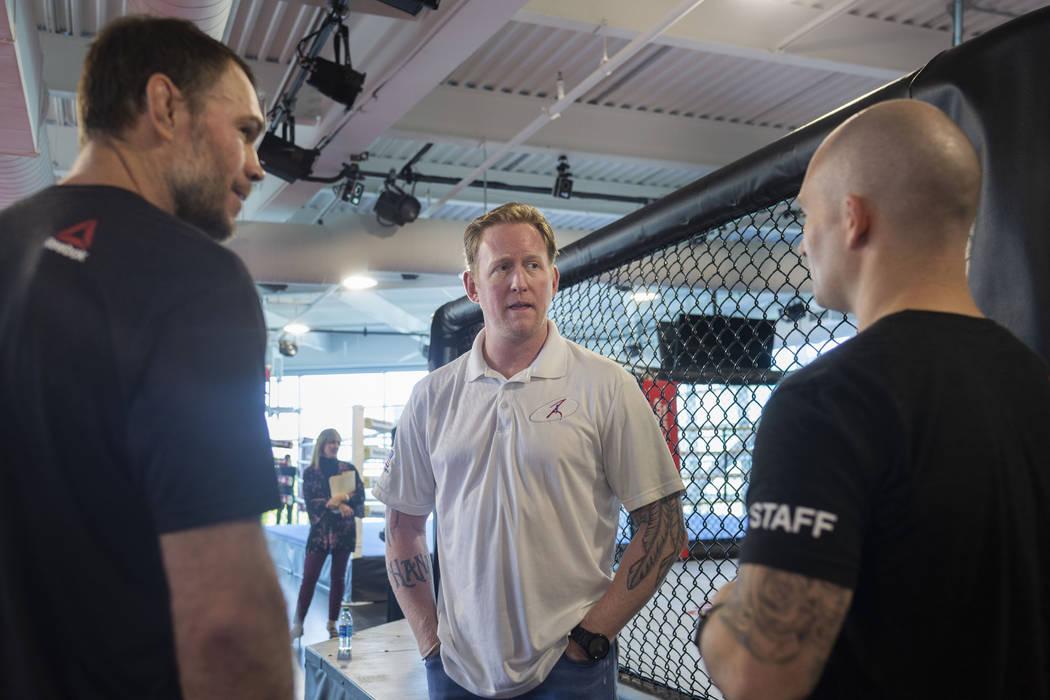 UFC Hall of Famer Forrest Griffin, left, former SEAL Team Six leader Rob O'Neill, center, and V ...