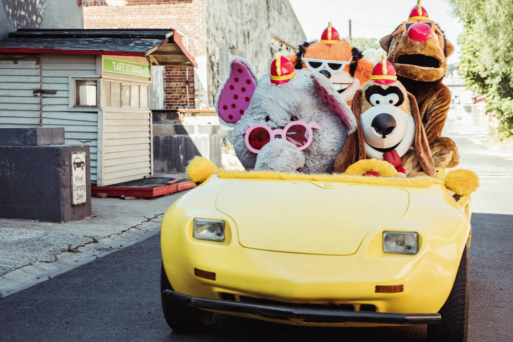 From left, Snorky, Bingo, Fleegle, Drooper in The Banana Splits Movie. (Marcos Cruz/Warner Bros ...