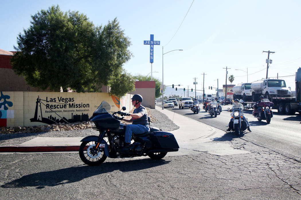 """Members of """"Rescue Ride,"""" arrive at the Las Vegas Rescue Mission during their nationwide tour t ..."""