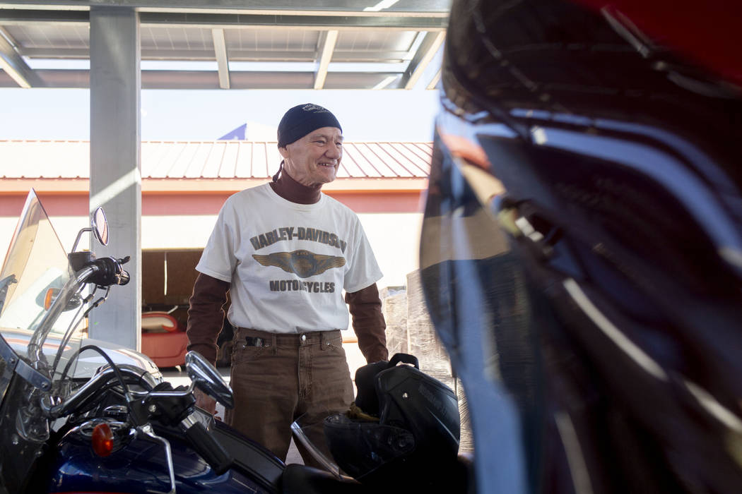 """Rescue Rider Richard """"Woody"""" Woodruff, 74, West Virginia, arrives at the Las Vegas Rescue Missi ..."""
