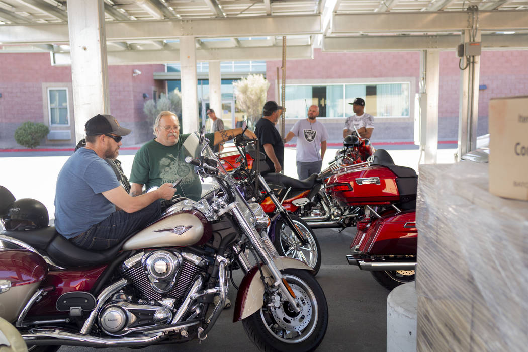 Rescue Rider's parked motorcycles after arriving at the Las Vegas Rescue Mission during a tour ...