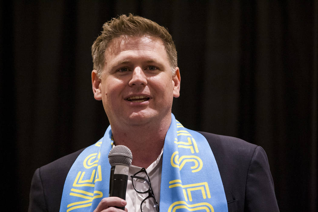 Las Vegas Lights CEO Brett Lashbrook speaks at the Las Vegas Lights FC season kickoff party at ...