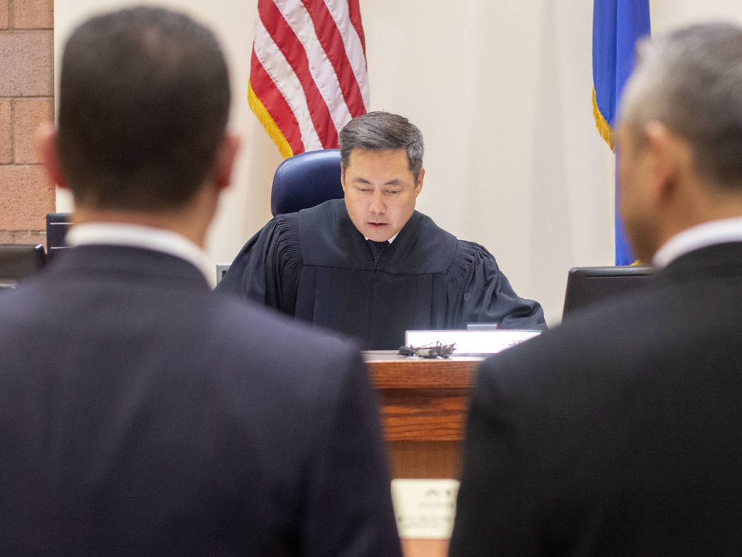 North Las Vegas Justice of the Peace Chris Lee speaks to defense attorneys for Michel Rantissi ...