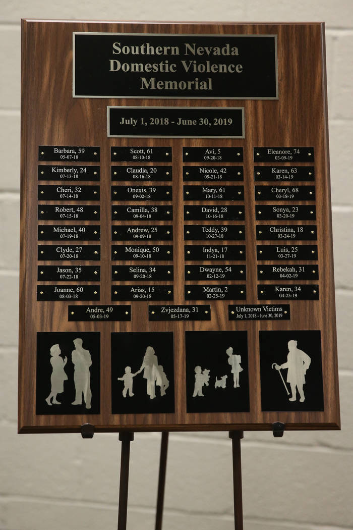 A plaque with the names of domestic violence victims killed in the last year is played during a ...