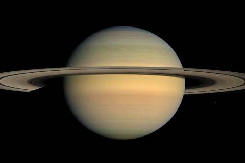 FILE - This July 23, 2008 file image made available by NASA shows the planet Saturn, as seen fr ...