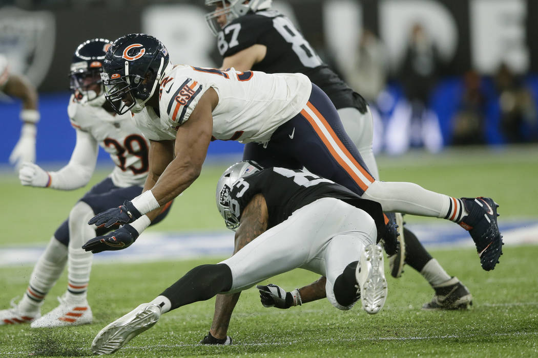 Chicago Bears outside linebacker Khalil Mack (52) rushes during the second half of an NFL footb ...