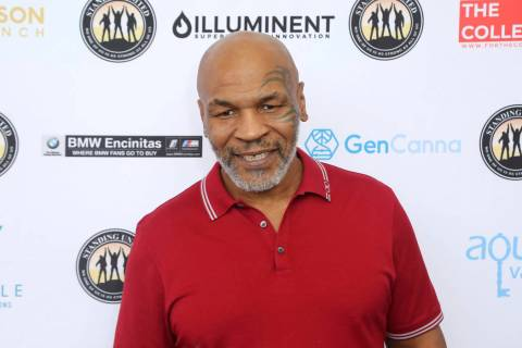 FILE - In this Aug. 2, 2019, file photo, Mike Tyson attends a celebrity golf tournament in Dana ...