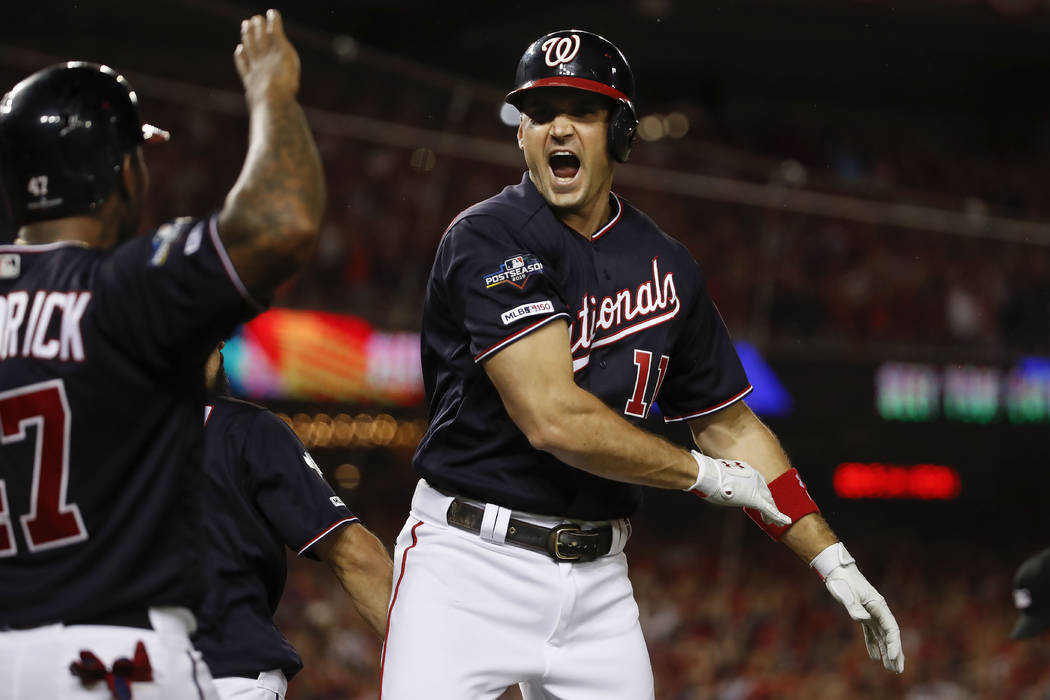 Washington Nationals first baseman Ryan Zimmerman celebrating his three-run homer off Los Angel ...