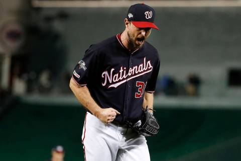 Washington Nationals starting pitcher Max Scherzer (31) reacts after striking out Los Angeles D ...