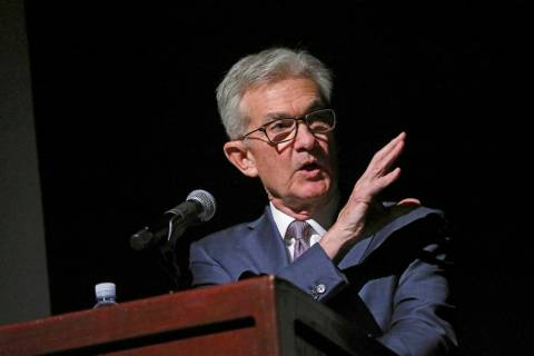 Federal Reserve Chairman Jerome Powell speaks Monday, Oct. 7, 2019, in Salt Lake City, before t ...