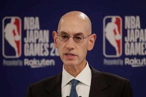NBA Commissioner Adam Silver speaks at a news conference before an NBA preseason basketball gam ...