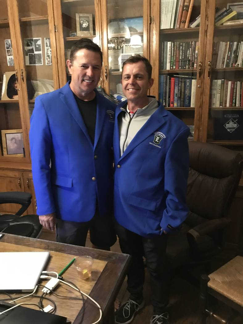 Lakeshore Open chairman Phil Tom and 2019 champion Phil Rowe, UNLV asst. men's golf coach, afte ...