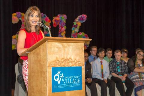 Beth Fisher, morning anchor on Channel 13 Action News, speaks during the Job Discovery Program ...