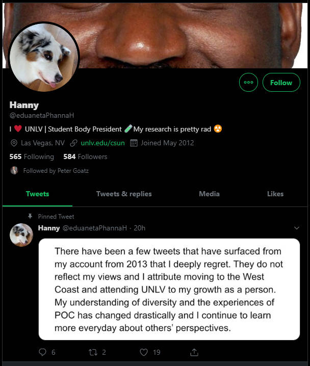 An apology tweet posted by Hannah Patenaude on Oct. 7, 2019 is shown in a screenshot.
