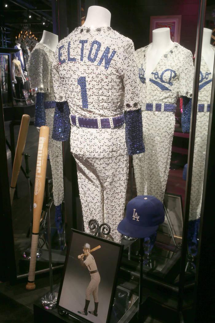 Elton John's Dodgers outfit at a new rock memorabilia exhibit at the Hard Rock Hotel in Las Veg ...