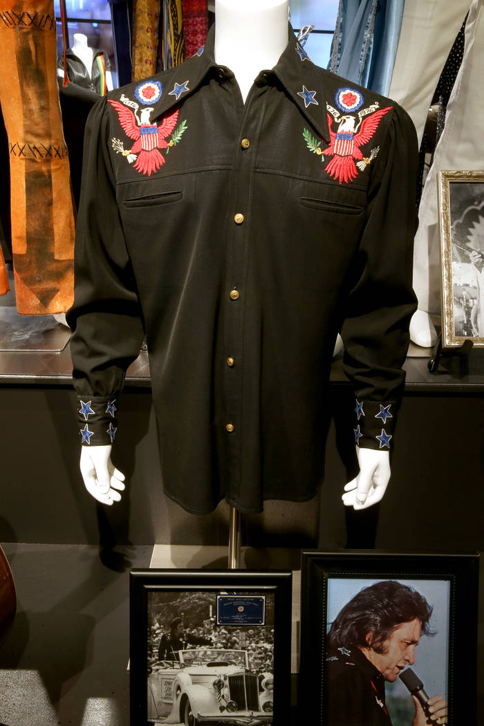 Johnny Cash embroidered bicentennial long sleeve shirt by designer Nudie Cohn at a new rock mem ...