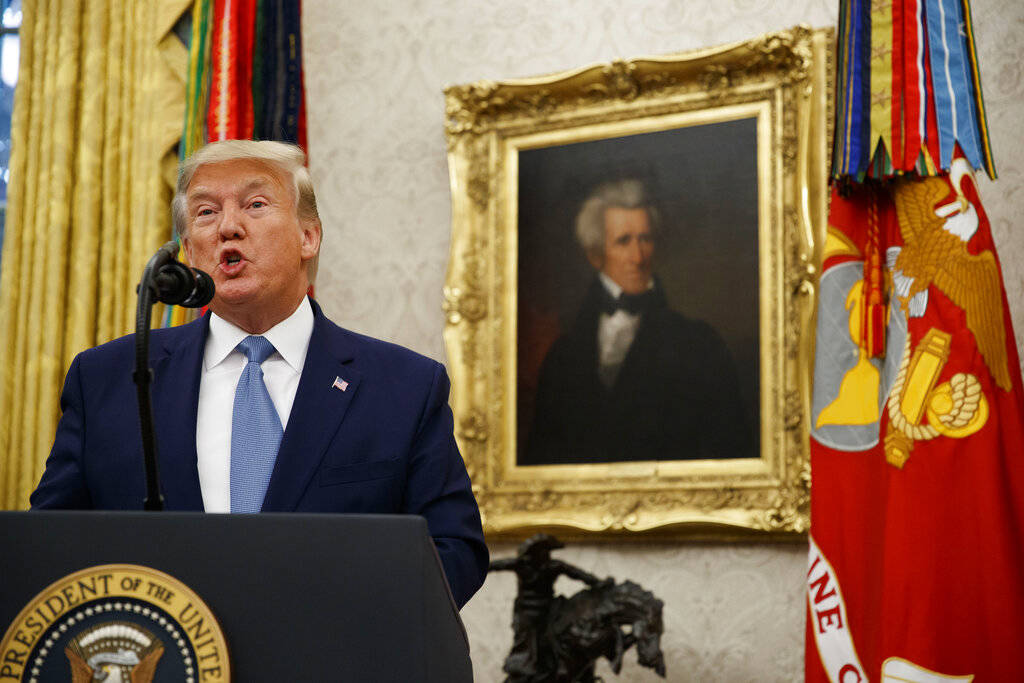 President Donald Trump speaks during a ceremony to present the Presidential Medal of Freedom to ...