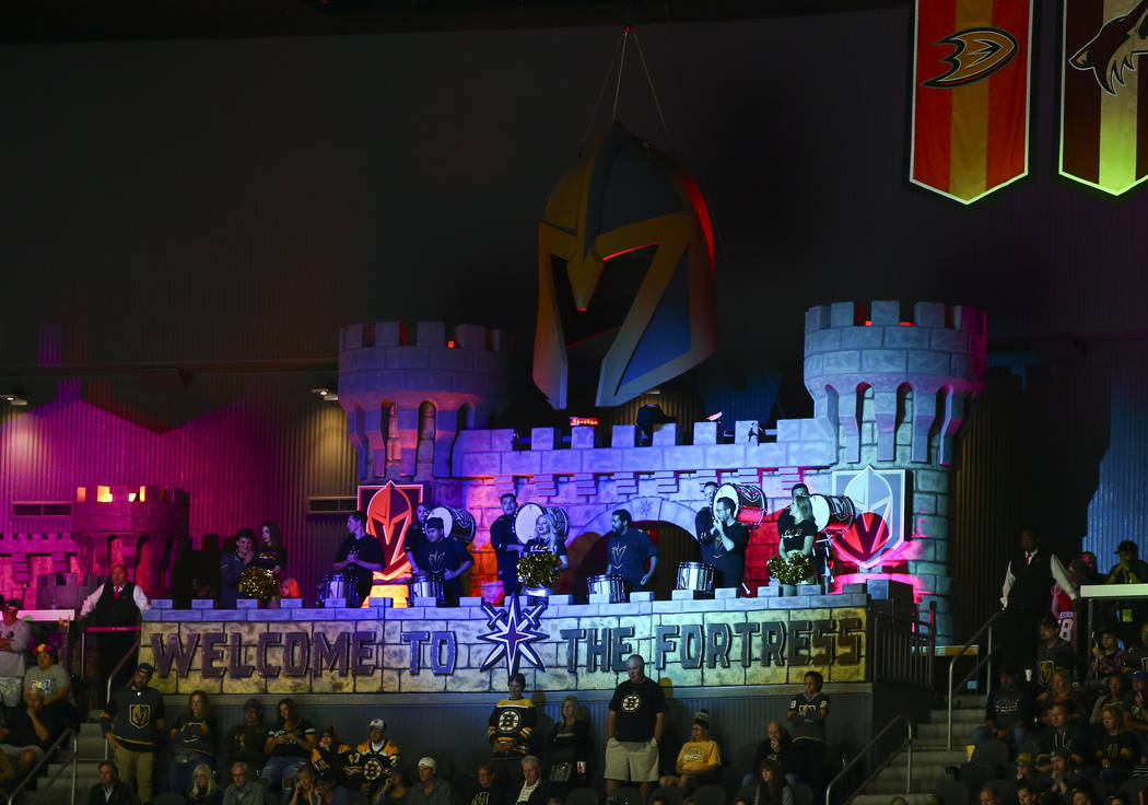Special lights are seen at the Golden Knights' annual pride night during third period of an NHL ...