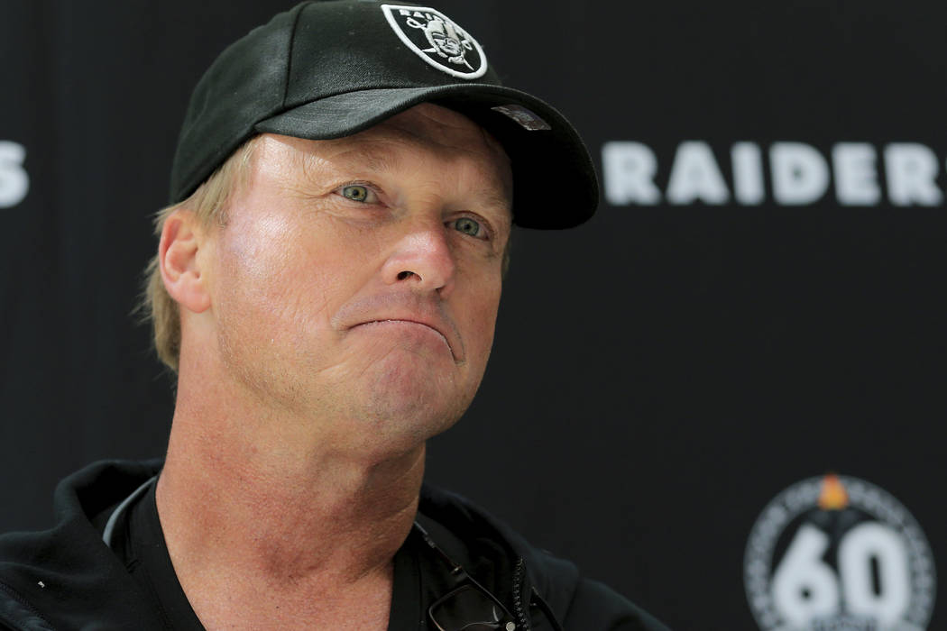 Oakland Raiders' head coach Jon Gruden attends a press conference after a practice session at t ...