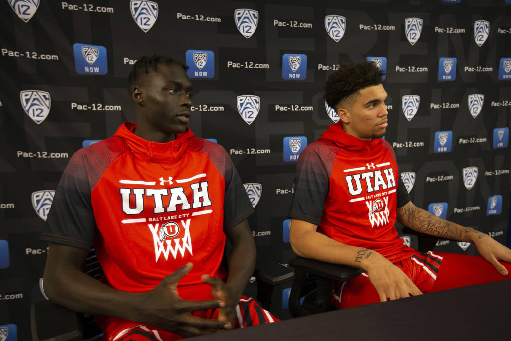 Utah's Both Gach, left, and Timmy Allen speak during the Pac-12 NCAA college basketball media d ...