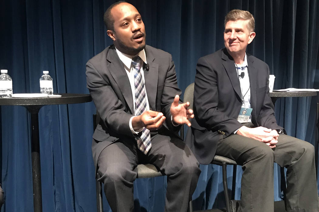 From left, Colin Seale, and Jeff Saling spoke at the Governor's Conference on Business Oct. 1 ...