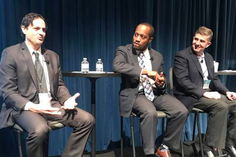 From left, Denis Phares, Colin Seale, and Jeff Saling speak at the Governor's Conference on B ...