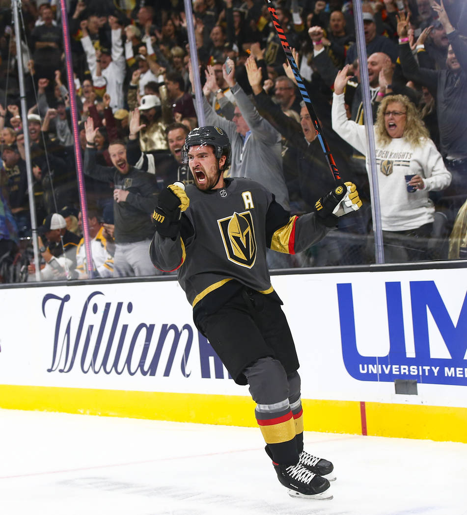 Golden Knights' Mark Stone (61) celebrates his goal against the Boston Bruins during the first ...