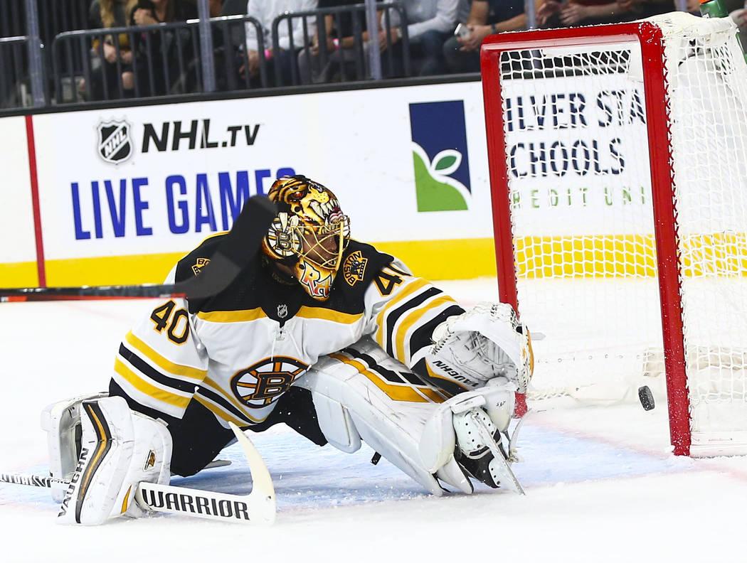 Golden Knights' Mark Stone, not pictured, scores a goal past Boston Bruins goaltender Tuukka Ra ...