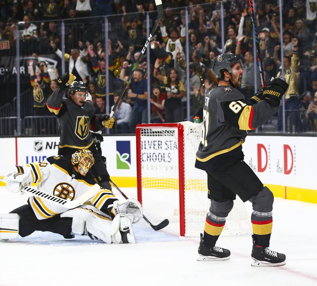 Golden Knights' Mark Stone (61) celebrates after scoring a goal past Boston Bruins goaltender T ...