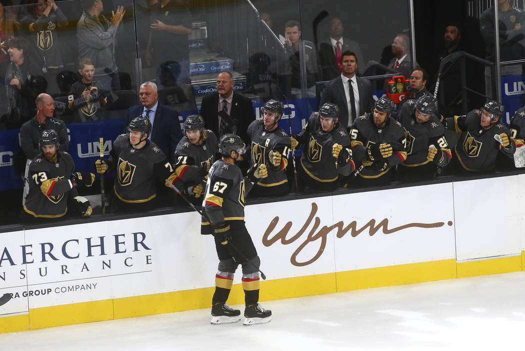 Golden Knights' Max Pacioretty (67) celebrates his goal during the third period of an NHL hocke ...