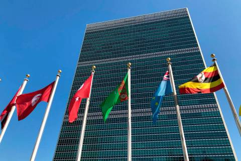 FILE - In this Sept. 28, 2019 file photo, flags fly outside the United Nations headquarters dur ...