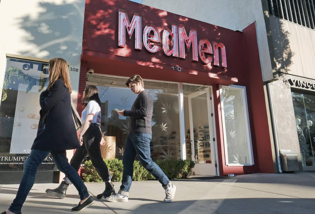 FILE - This Thursday, Dec. 21, 2017 file photo shows the MedMen marijuana dispensary in Los Ang ...