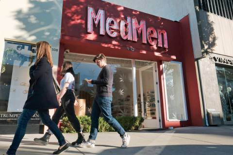 FILE - This Thursday, Dec. 21, 2017 file photo shows the MedMen marijuana dispensary in Los Ang ...