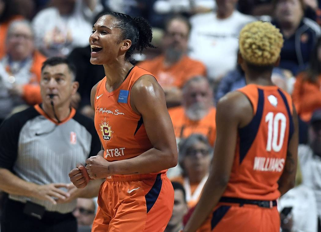 Connecticut Sun's Alyssa Thomas reacts to a play during the first half in Game 4 of basketball' ...